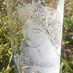 Hand engraved glass fairy v..