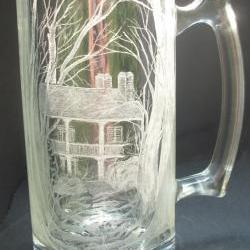 "Hand engraved glass mug ""summerset"" Historic home, original one of a kind art"